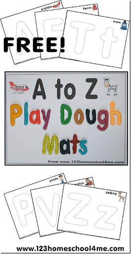 Playdough Mats - Alphabet Letters from A to Z #alphabet #preschool #playdough