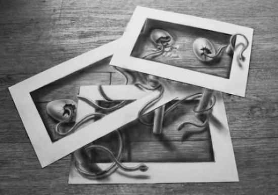 huevos de serpiente dibujo anamórfico