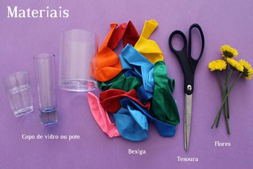 Materiais-DIY-Copo-Vaso-Bexiga-Flores