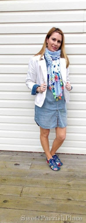 denim shirtdress, tassle scarf, sneakers5