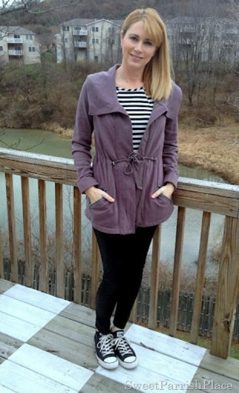 black leggings purple jacket converse