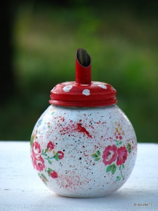 kolekcija polka dots and roses in red- posudica za šećer