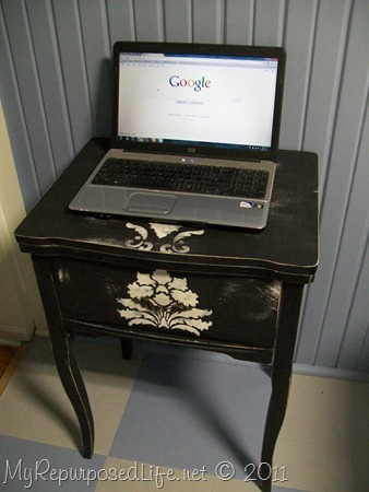 Repurposed sewing cabinet-laptop desk