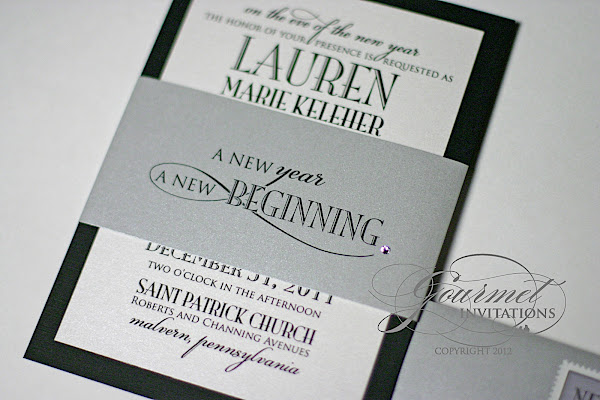 lauren + joseph: new year's eve wedding invitations - gourmet, Wedding invitations