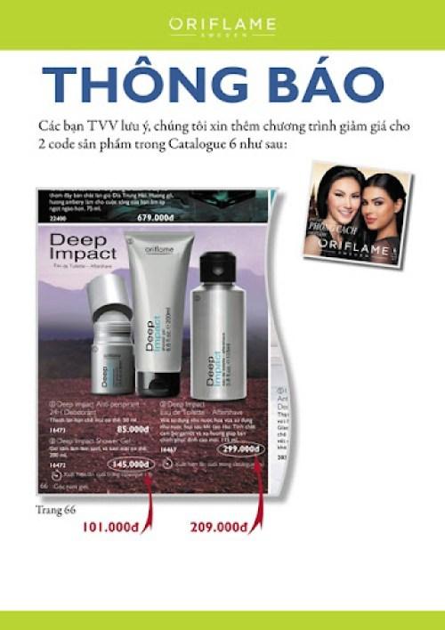 Catalogue Oriflame 6-2012: Thêm giảm giá nước hoa và gel tắm Deep Impact