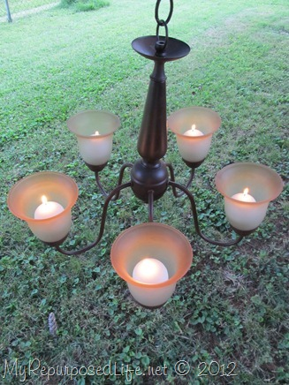 repurposed chandelier-romantic candelabra