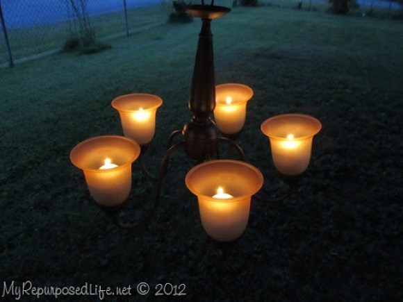repurposed chandelier-romantic candelabra