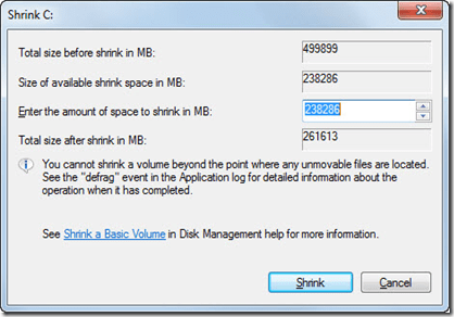 mengecilkan volume drive C: di Windows 7