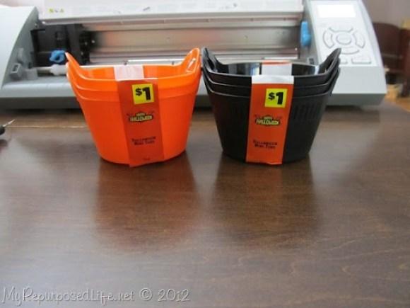 Halloween buckets from Dollar General Store