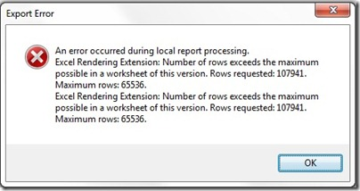 Max rows error in excel SSRS