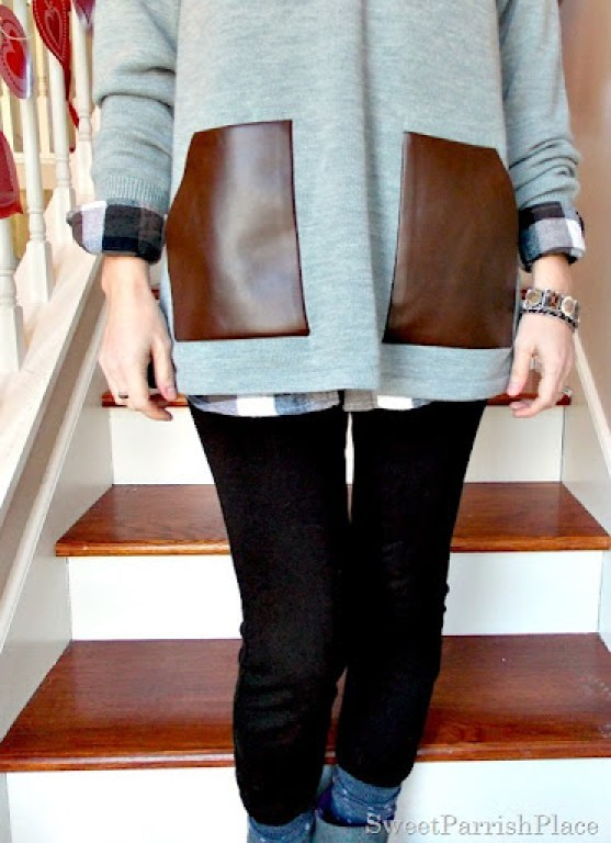 grey sweater with leather pockets and plaid shirt4