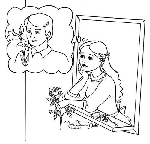 """A princesa e o príncipe; a """"Maria"""" e seu """"José"""" - Desenho de Maria Bastos"""
