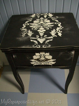 Repurposed sewing cabinet-laptop desk