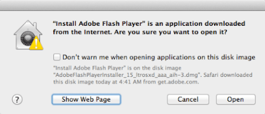 Adobe flash installer warning