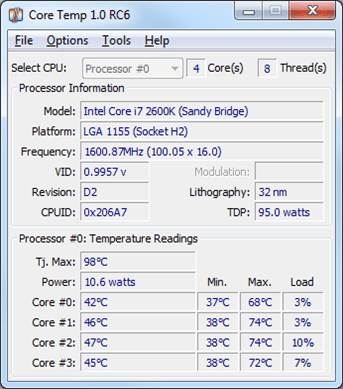 software pengukur suhu laptop Core Temp