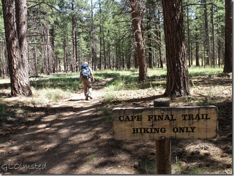 Mike on Cape Final trail & sign North Rim Grand Canyon National Park Arizona