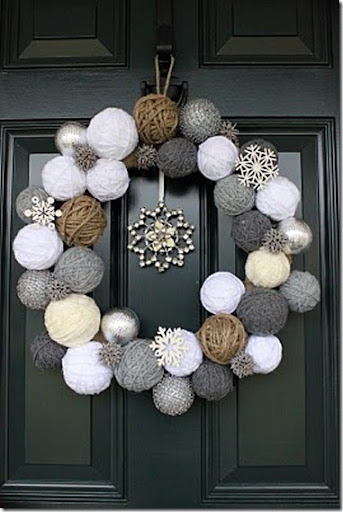 Winter wreath--wreath made from yarn balls and snowflake ornaments