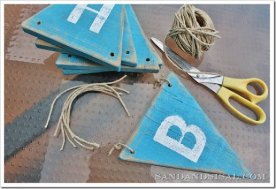Tie pennants with string