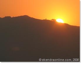 gradual setting of sun