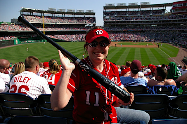 Ashley and her autographed bat