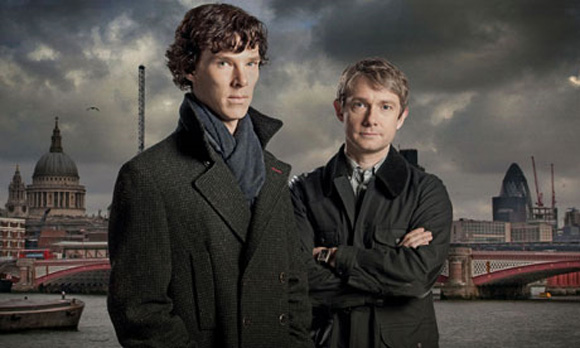 Benedict Cumberbatch (L) and Martin Freeman (R) in _Sherlock_