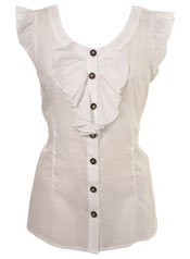 Retro Buttoned Frill Shirt by Miss Selfridge