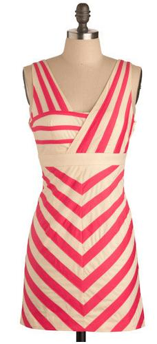 Pink and Beige Striped Dress by Modcloth