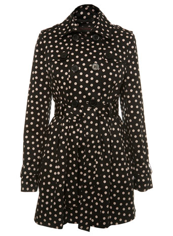 Polka Dots Print Mac Coat by Miss Selfridge