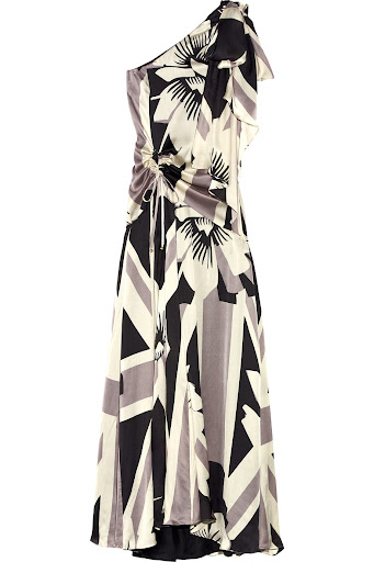 Grey Britannia Flower Silk Dress by Temperley London