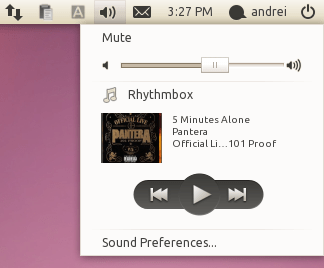 Ubuntu 10.10 sound menu screenshot