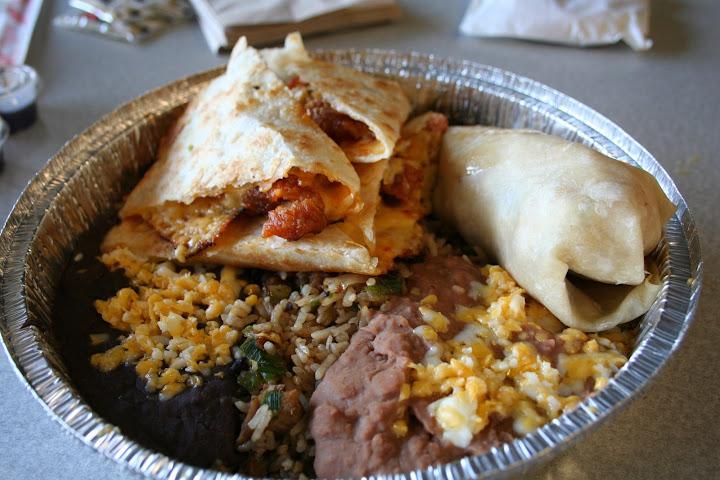 Quesadilla, Burrito, Rice & Beans