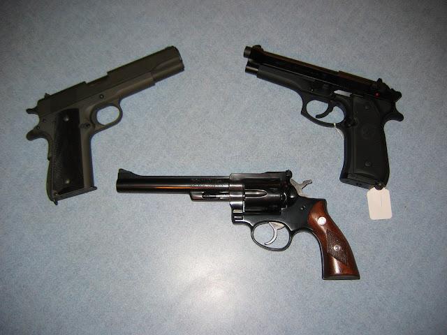 Springfield 1911A1, Baretta 92FS, Ruger Security Six