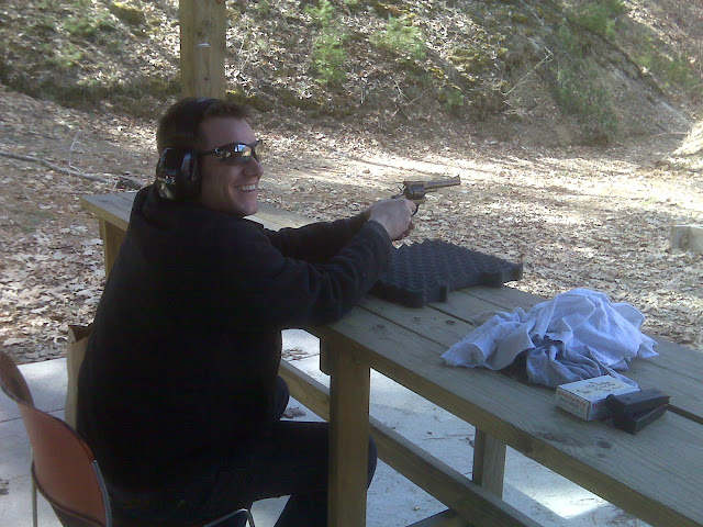 The victim (Jason with the Ruger Security-Six glances up after shotting the last round in the cylinder