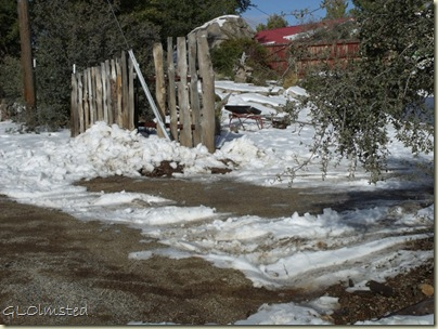 Snow filled ditch in driveway Yarnell Arizona