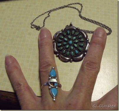 Sterling silver and turquoise pendant-broche & ring from Mom San Benito Texas