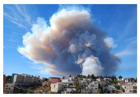 fuego en el Monte Carmelo (Israel)