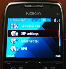 Screenshot of SIP phone for VOIP on E71