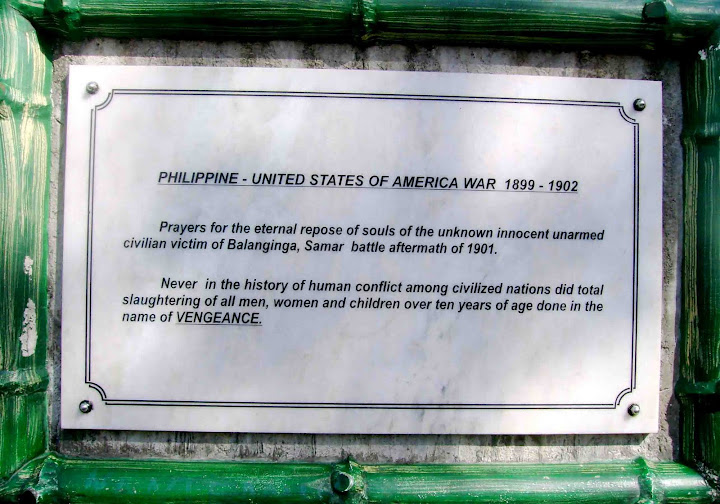 A marker in Sta Rosa reminding its visitor of the infamous massacre of Samar