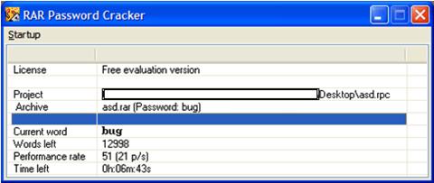rar password