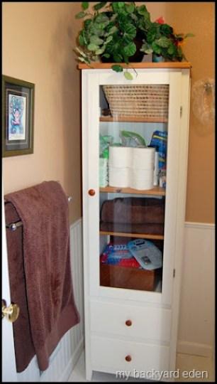 Peek a boo bathroom cabinet