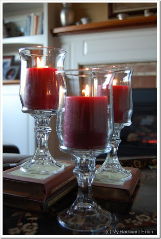 What a great, inexpensive idea! Dollar store hurricane lamps! I love it when crafts are both pretty and cheap!