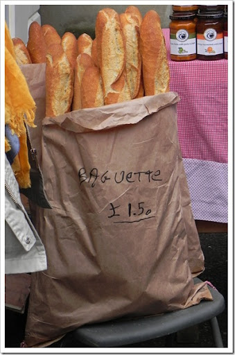 Baguettes from the French cheese stall