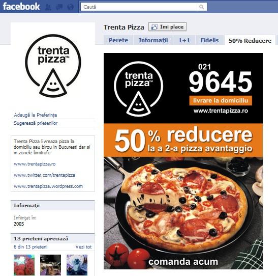 Promotie Trenta Pizza pe pagina de fani Facebook