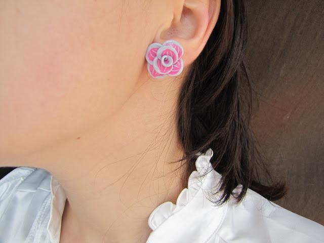 Brosa Handmade Fimo, dalie roz