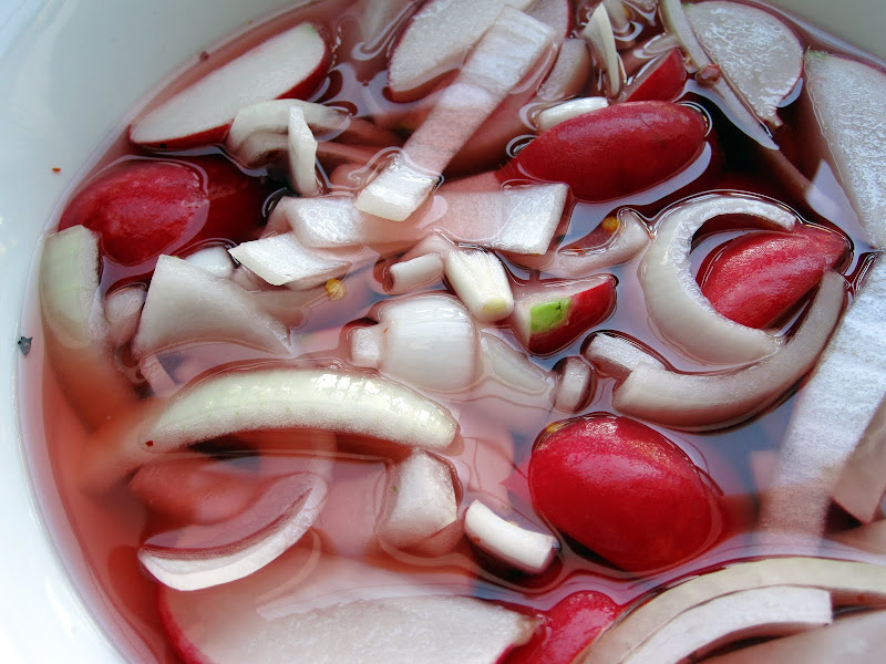 radishes and onions in pickle brine