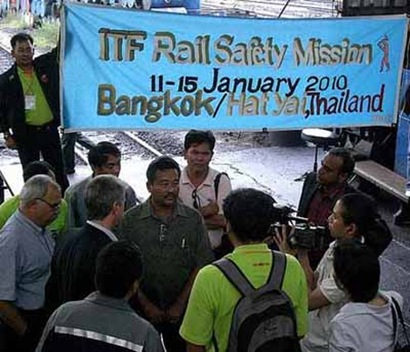 ITF delegate Com Venu P Nair in Press Conference along with THAI Drivers During his visit to Bangsue railway depot, HatYai, Bangkok, Thailand