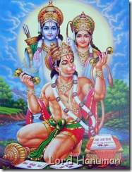 Hanuman worshipping Sita and Rama