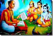 Rama, Lakshmana, Hanuman listening to Tulsidas