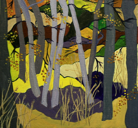 Aspen Trees Abstract by Jean Nelson