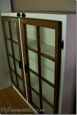 repurposed window cabinet MyRepurposedLife.com